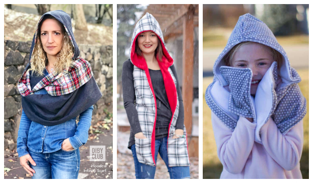 DIY Fabric Hoodie Scarf Free Sewing Pattern