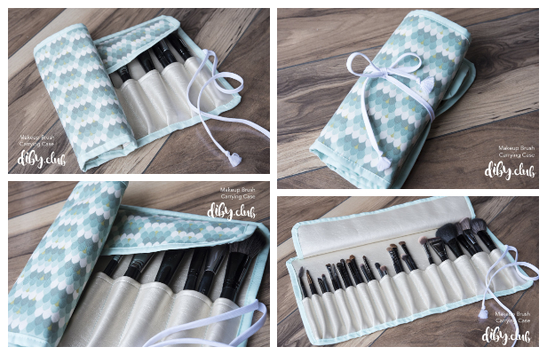 DIY Fabric Makeup Brush Roll Case Free Sewing Patterns