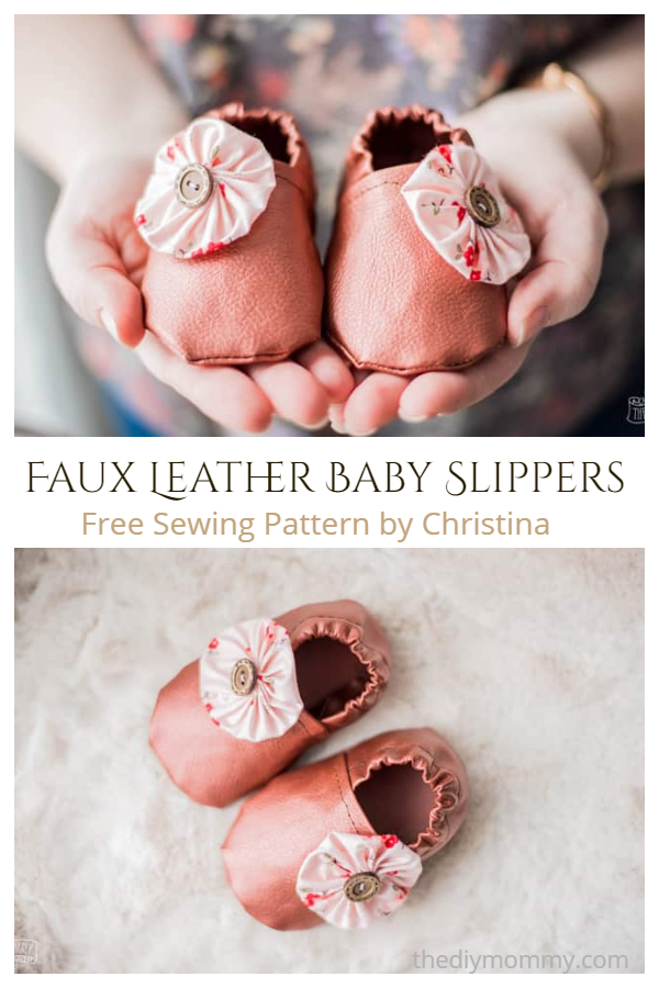 Faux Leather Baby Slippers Free Sewing Patterns