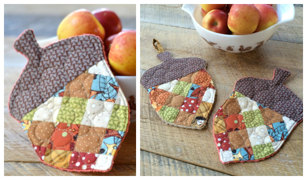 DIY Patchwork Acorn Coaster Free Sewing Patterns