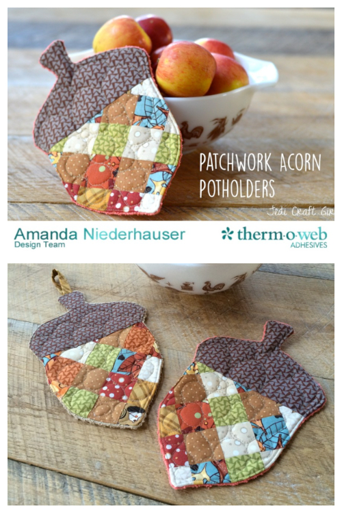 DIY Fusible Fleece Patchwork Acorn Potholder Free Sewing Patterns