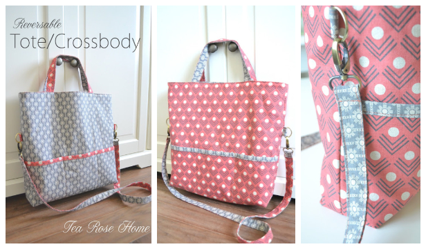 DIY Reversible Tote Crossbody Bag Free Sewing Pattern