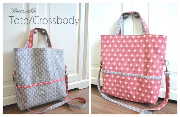 DIY Reversible Tote Crossbody Bag Free Sewing Pattern