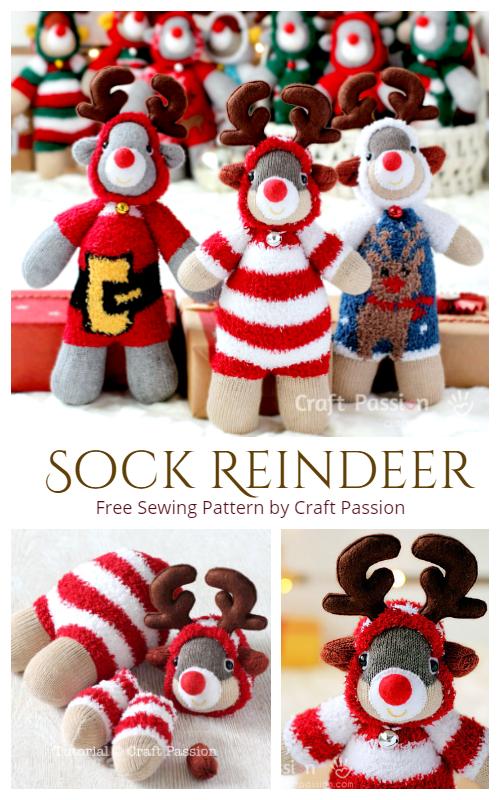 DIY Sock Reindeer Free Sewing Pattern & Tutorial
