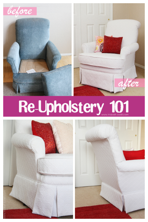 How to Re-upholster Fabric ArmChair DIY Tutorial
