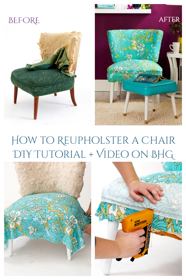How to Re-upholster Fabric Chair DIY Tutorial
