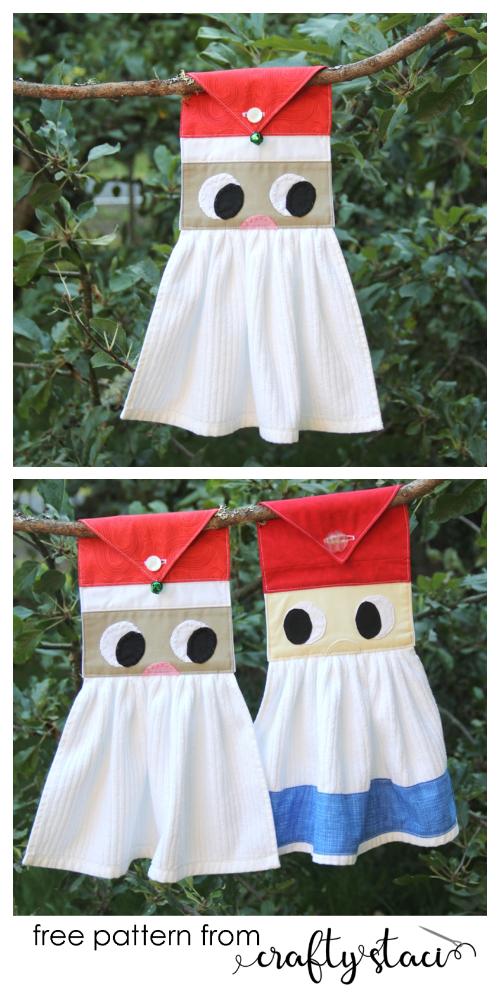 DIY Christmas Santa Kitchen Towel Free Sewing Pattern