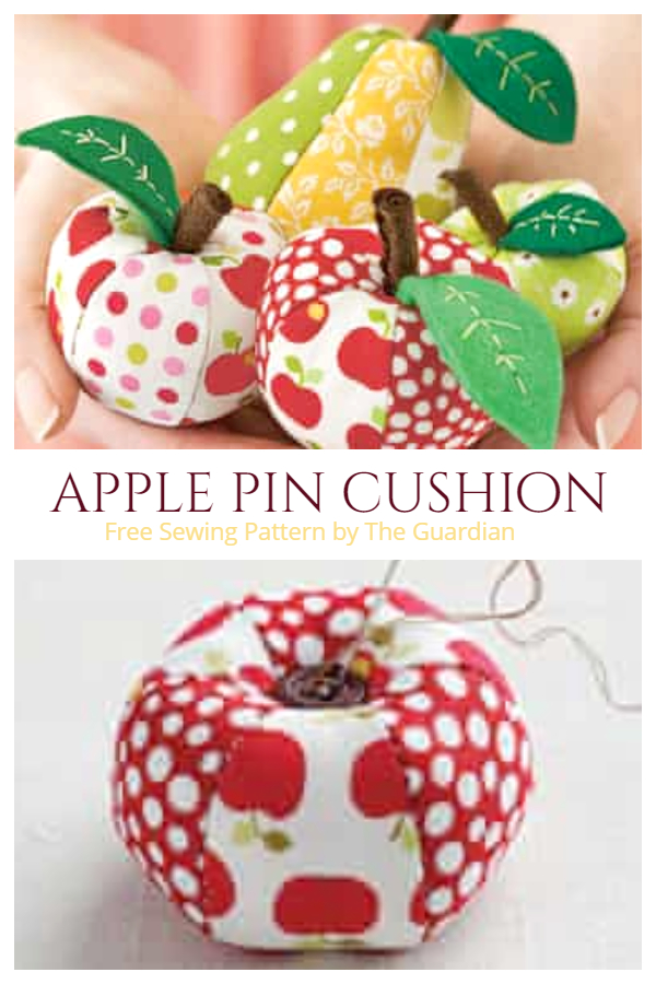 DIY Fabric Apple Pin Cushion Free Sewing Patterns