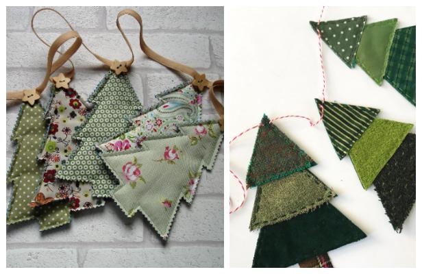 DIY Fabric Christmas Tree Banner Free Sewing Patterns & Tutorials