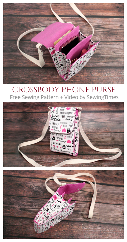DIY Fabric Crossbody Phone Purse Bag Free Sewing Pattern + Video