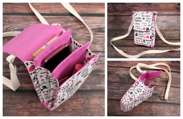 DIY Fabric Crossbody Phone Purse Bag Free Sewing Pattern + Video