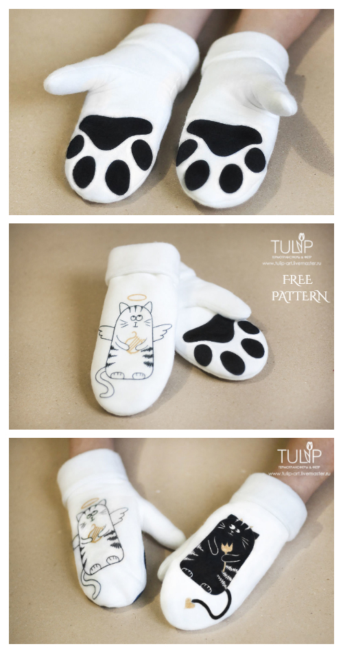 DIY Fabric Paw Mittens Free Sewing Pattern and Tutorial