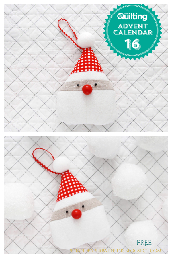 DIY Fabric Santa Ornament Free Sewing Patterns