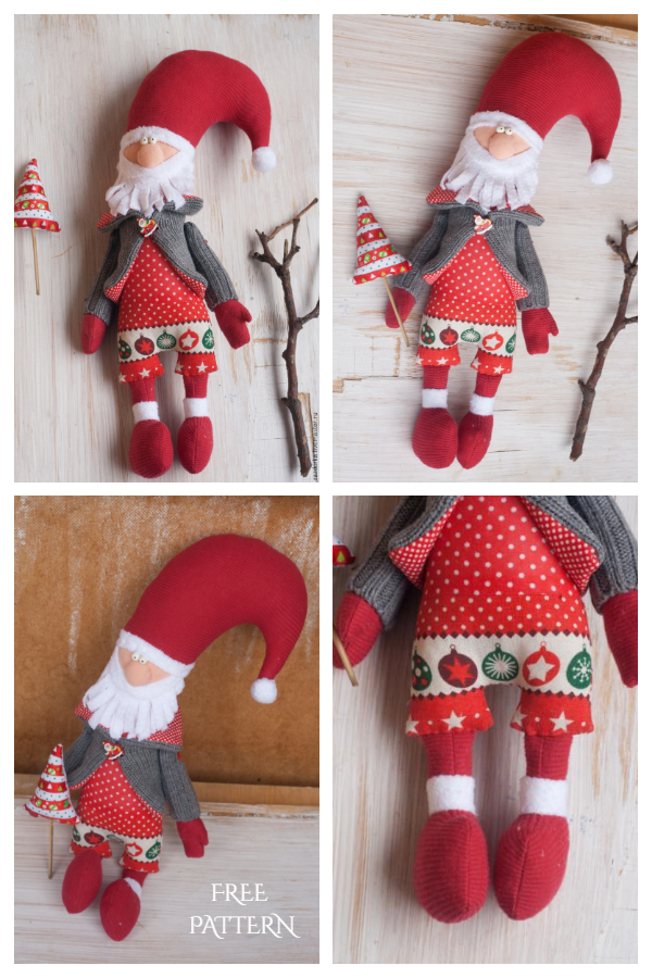 DIY Fabric Santa New Year Grandfather Free Sewing Patterns