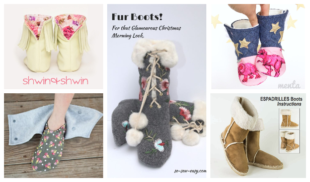 DIY Fabric Slipper Boots Free Sewing Patterns