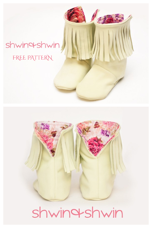 DIY Fabric Fringe Baby Boots Free Sewing Pattern & Tutorial