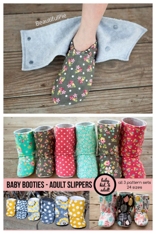 DIY Fabric House Slippers Boots Sewing Patterns Baby - Adults