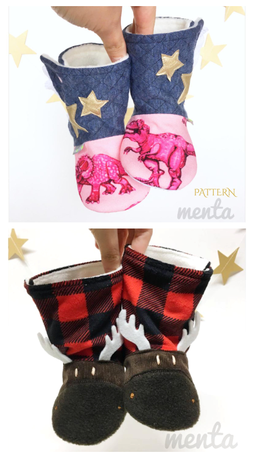 DIY Fabric Menta Boots Sewing Patterns Baby - Adults