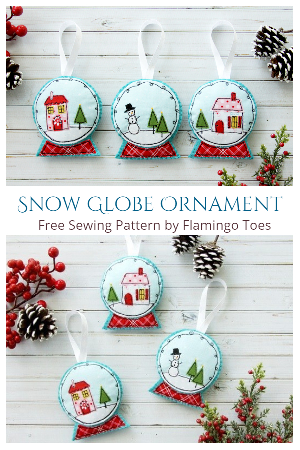 DIY Fabric Snow Globe Christmas Ornament Free Sewing Pattern
