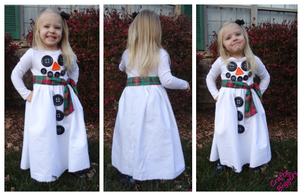 DIY Easy Fabric Snowman Button Dress Sewing Tutorial