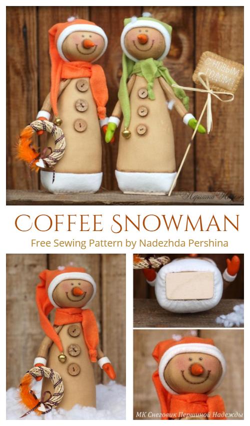 DIY Fabric Sitting Coffee Snowman  Free Sewing Pattern & Tutorial