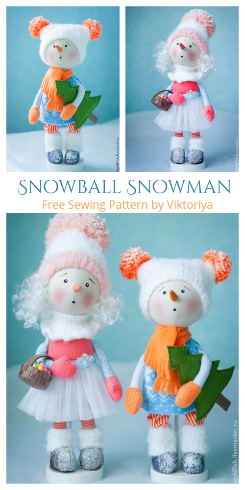 DIY Fabric Snowman Doll Snowball Free Sewing Pattern & Tutorial