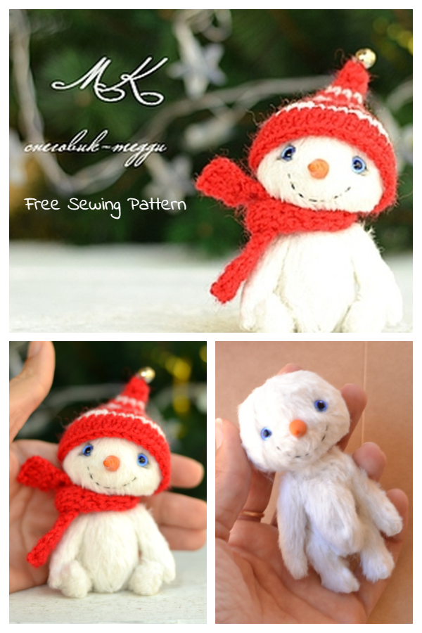 DIY Cute Fabric Teddy Snowman Free Sewing Pattern