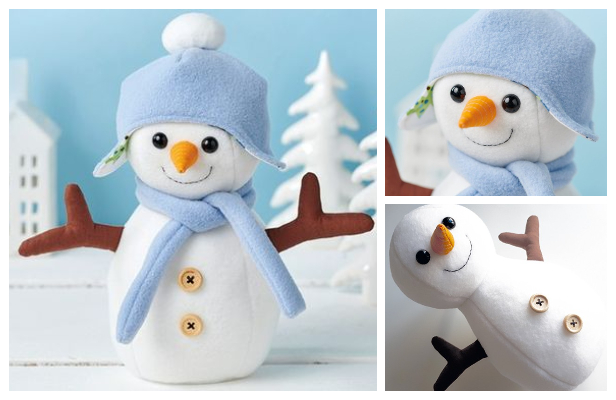 DIY Fabric Snowman Softie Free Sewing Pattern & Tutorial
