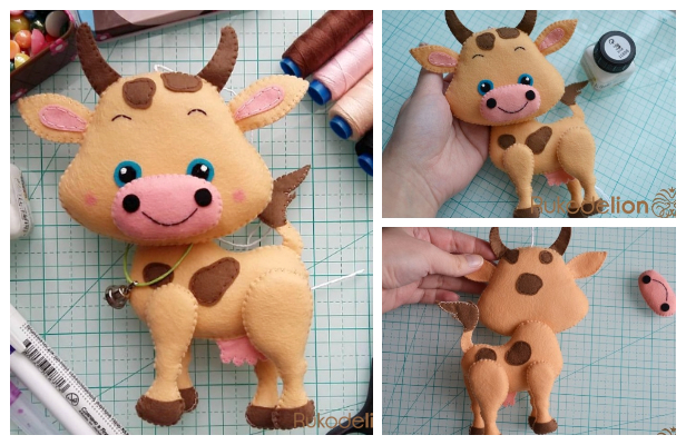 DIY Felt Cow Free Sewing Pattern