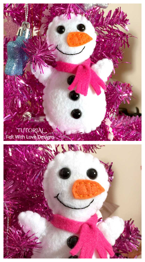 DIY Mini Felt Snowman Free Sewing Patterns
