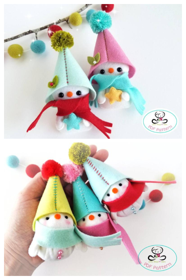 DIY Felt Snowman Christmas Ornament Sewing Patterns