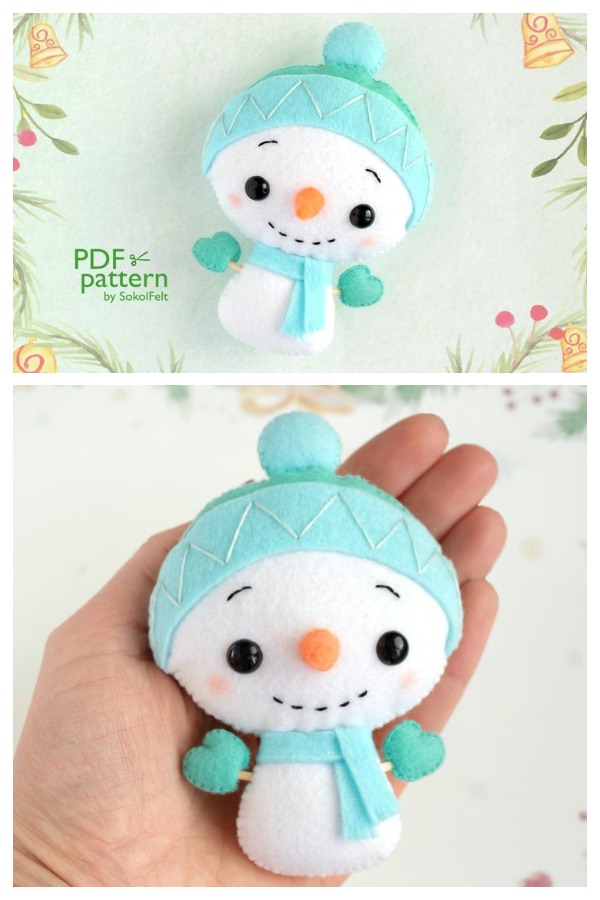DIY Felt Snowman Toy Sewing Patterns