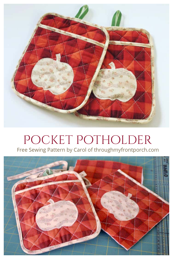 DIY Quilt Apple Pocket Potholder Free Sewing Pattern and Tutorial