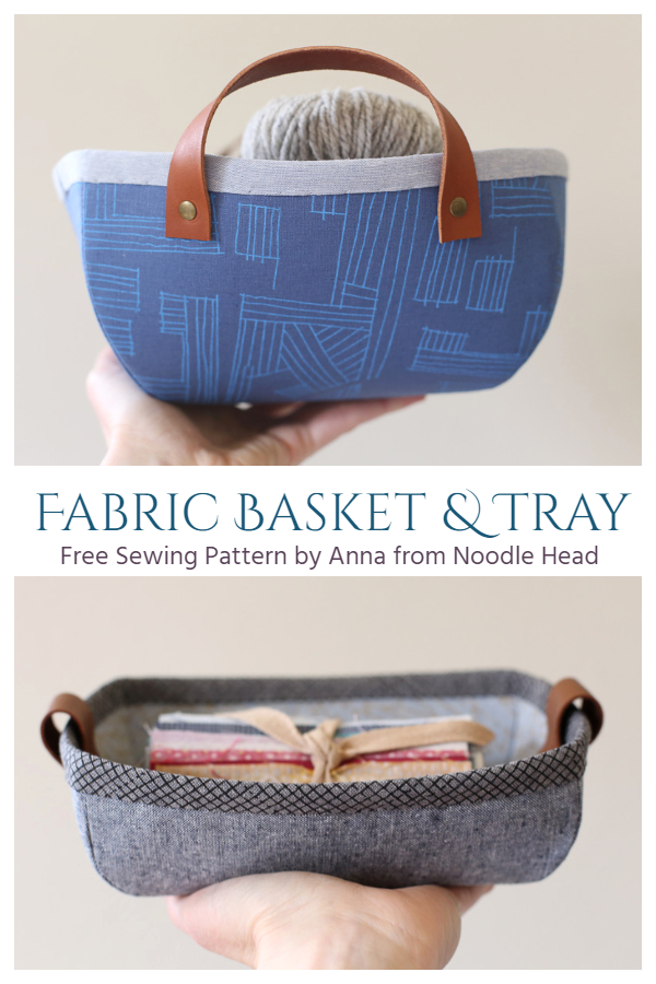 DIY Simple Fabric Basket&Tray Free Sewing Pattern