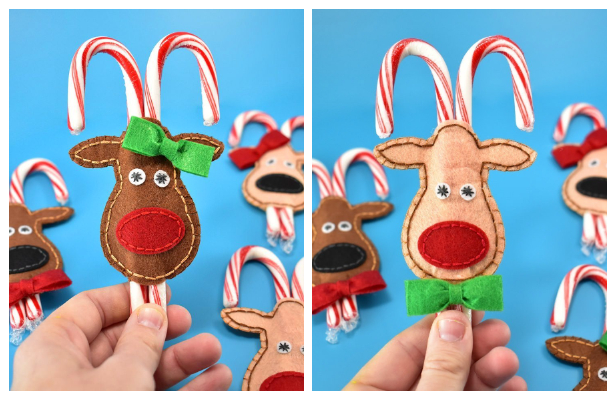 Felt Reindeer Candy Cane Pockets Free Sewing Pattern