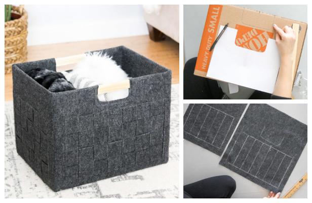 Woven Felt Cardboard Box Storage DIY Tutorial + Video