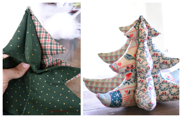 DIY 3D Stuffed Fabric Stuffed Christmas Tree Free Sewing Patterns + Tutorials