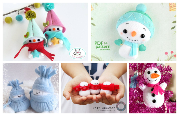 DIY Felt Snowman Free Sewing Patterns