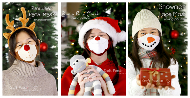 DIY Fabric Christmas Face Mask Free Sewing Patterns