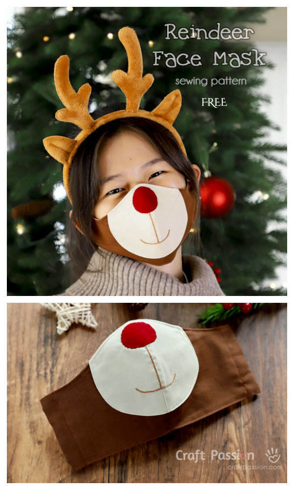 DIY Fabric Reindeer Christmas Face Mask Free Sewing Patterns