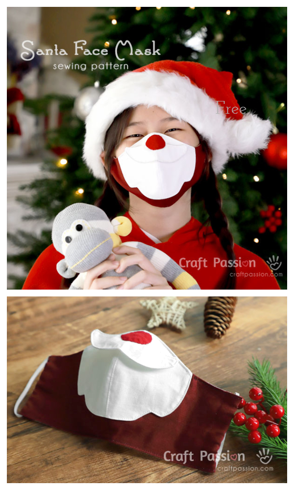 DIY Fabric Santa Christmas Face Mask Free Sewing Patterns