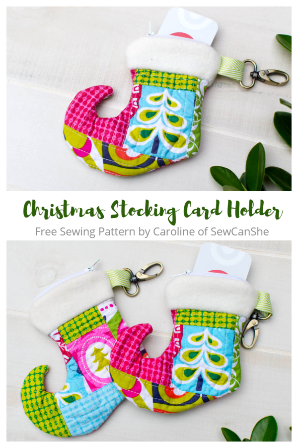 DIY Fabric Christmas Stocking Gift Card Zipper Pouch Free Sewing Patterns
