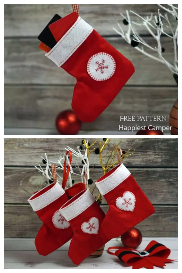 DIY Fabric Christmas Stocking Gift Card Holder Free Sewing Patterns f3