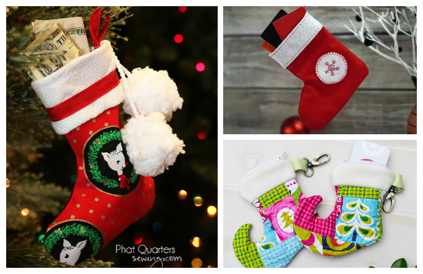 DIY Fabric Christmas Stocking Gift Card Holder Free Sewing Patterns