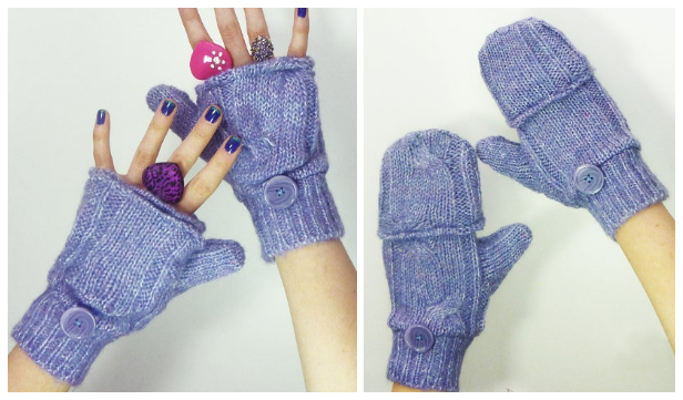DIY Fabric Convertible Fingerless Gloves Free Sewing Patterns
