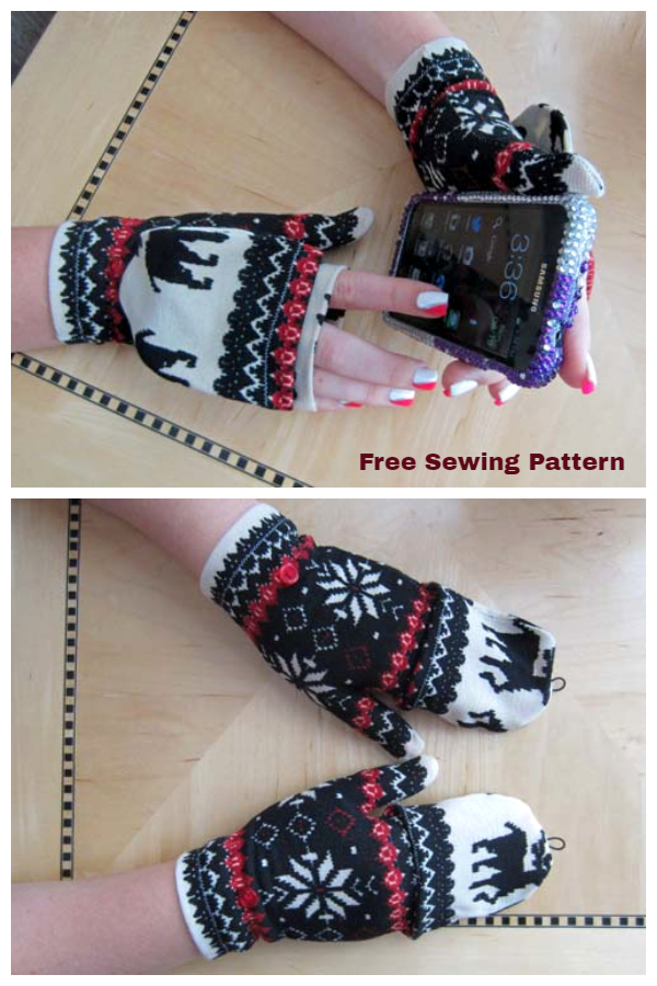 DIY Fabric Convertible Fingerless Mittens Free Sewing Patterns
