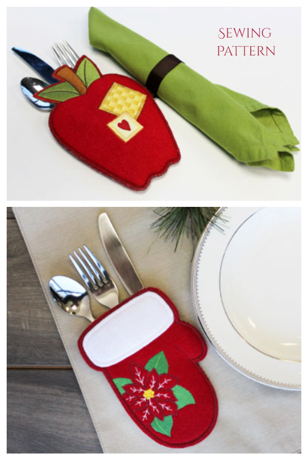 DIY Fabric Christmas Holiday Silverware holder Sewing Patterns