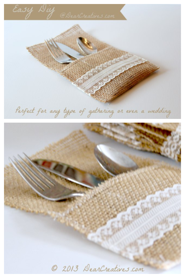 DIY Fabric Burlap Utensil Holders Free Sewing Patterns