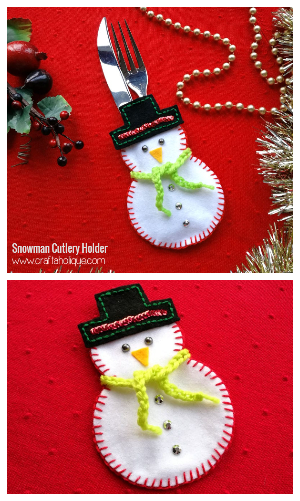 DIY Fabric Christmas Snowman Cutlery Holder Free Sewing Patterns