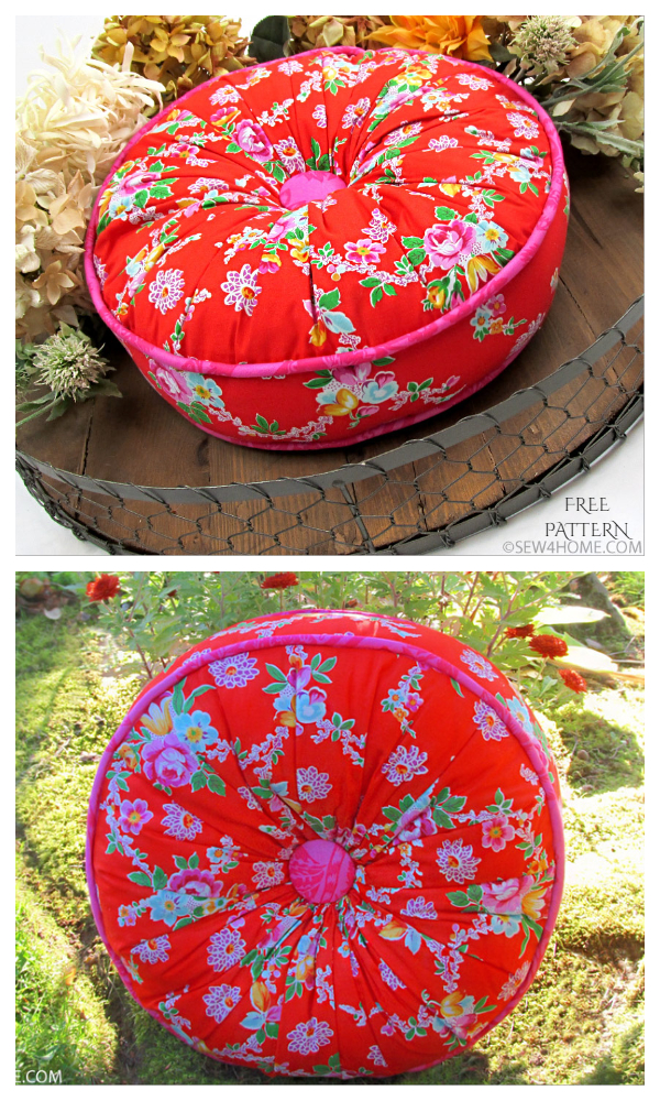 DIY Fabric Gathered Top Round Pillow Free Sewing Pattern